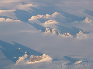 Greenland at dawn from 36,000 feet, 2007